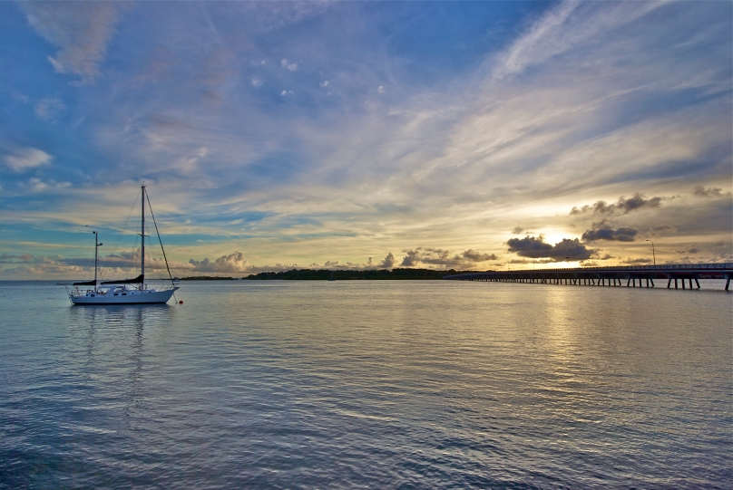 Sailboat moored in the calm waters of Bribie Island